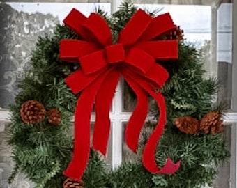 Weatherproof Red Velvet Christmas wreath bow, INDOOR/OUTDOOR bows, no liner