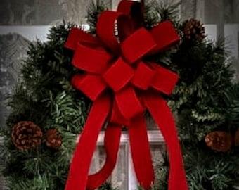 """OUTDOOR Red Velvet Christmas wreath bow, Weatherproof Christmas Bow, 2.5"""" width wired red velvet"""