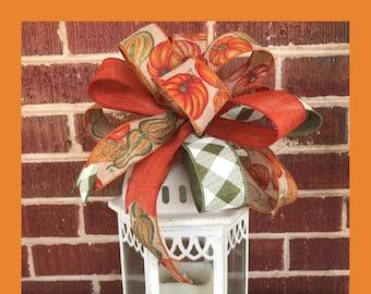 Fall Bow, Fall Gourd Bow, Lantern Bow, Fall decor, 10 Inch bow