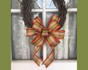 Fall Plaid Wreath, Fall Plaid Bow, Farmhouse wreath, Fall Bow