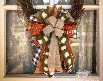 white Pumpkin on green Wreath Bow, Fall Farmhouse Bow, Fall Wedding Decor
