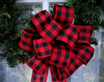 big red and black buffalo plaid wreath bow 25 ribbon christmas lodge wreath bow big fluffy bow mailbox swag bow rustic wreath bow - Buffalo Plaid Christmas Decor