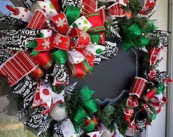 Red And Green Christmas Wreath Chalkboard Christmas Wreath Large Christmas Wreath Chalkboard Decor Christmas Decorations