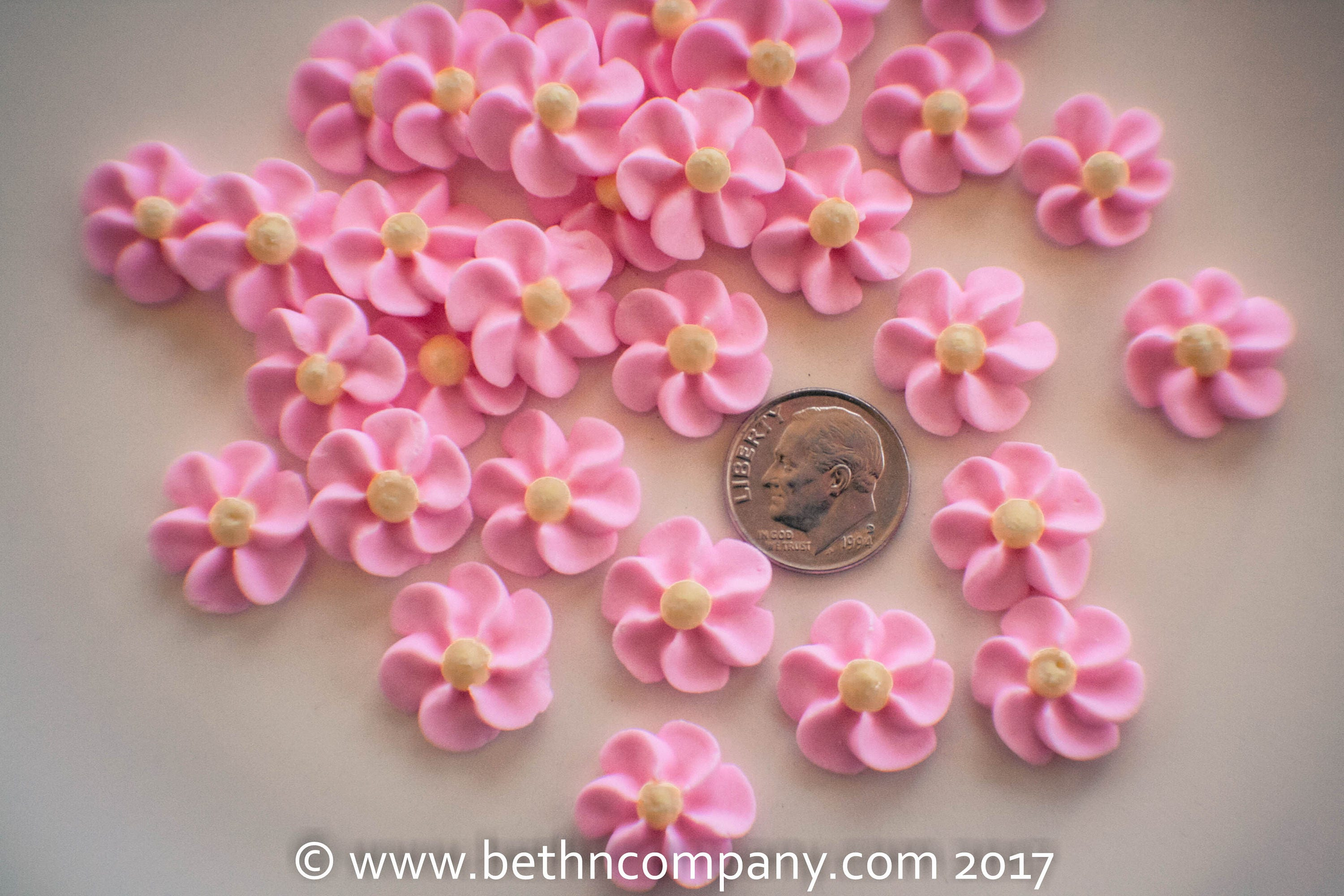 Royal Icing Flowers Small Pink Drop Flowers Cake Toppers Etsy