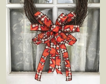 Fall Bow, Brown and White Buffalo Plaid Bow with Maple Leaf. Fall leaf bow