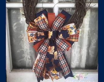 Fall Bow, Navy Fall Wreath Bow, Fall Mixed Ribbon Bow
