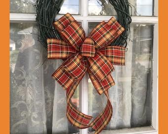 Fall Plaid Wreath, Green Grapevine wreath, Farmhouse wreath, Fall Bow