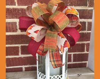 Fall Bow, Fall Plaid Leaf Bow, Lantern Bow, Fall decor, 10 Inch bow