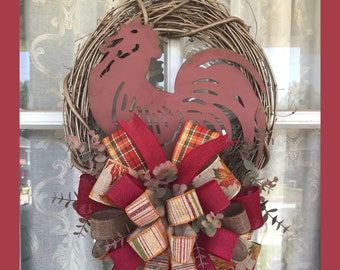 Fall Wreath, Rusty Red Rooster wreath