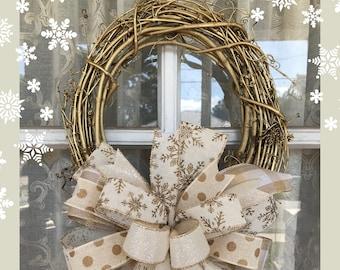 Christmas wreath, Gold Snowflake Christmas wreath