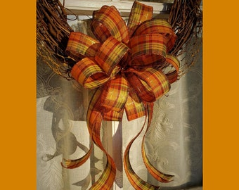 Metallic Fall Plaid Wreath Bow, Fall Decorations for front door