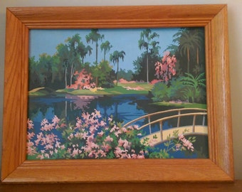 Vintage Tropical Paint by Numbers.  Lake and Bridge.