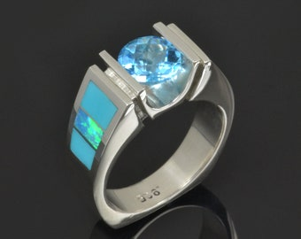 Turquoise Engagement Ring with Blue Topaz and Lab Opal Accents- Lab Opal Ring with Turquoise and Topaz Accents in Sterling Silver