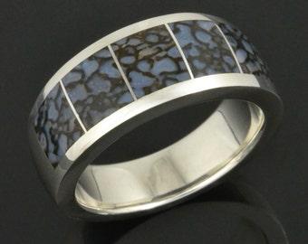 Blue Dinosaur Bone Wedding Ring In Sterling Silver