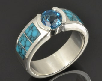 Turquoise Wedding Band for Men with Blue Topaz in Sterling Silver by Hileman Silver Jewelry- Man's Turquoise Wedding Ring