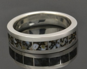 Gray dinosaur bone ring in sterling silver by Hileman Silver Jewelry