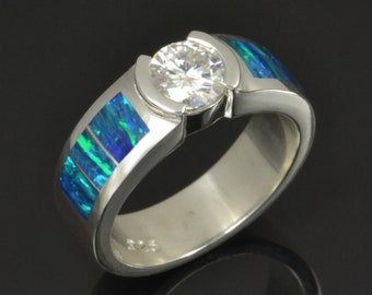 Lab Opal Engagement Ring with Moissanite in Sterling Silver