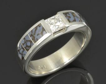 Men's Dinosaur Bone Ring with Princess Moissanite in Sterling Silver- Blue Dinosaur Bone Wedding Band