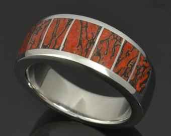 Dinosaur Bone Wedding Ring In Stainless Steel, Red Dinosaur Bone Ring, Dinosaur Bone Wedding Band by Hileman