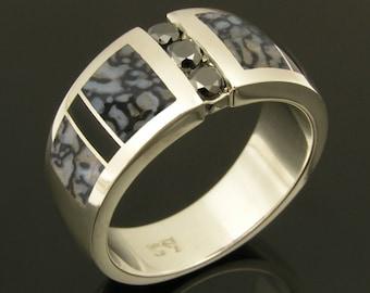 Dinosaur Bone Wedding Ring with Black Diamonds and Black Onyx, Dinosaur Bone Wedding Band, Black Diamond Wedding Band
