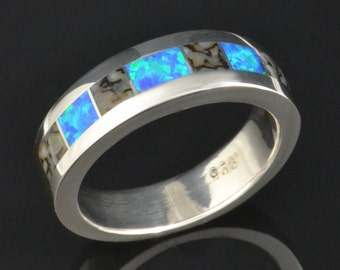 Dinosaur Bone Ring with Lab Created Opal by Hileman