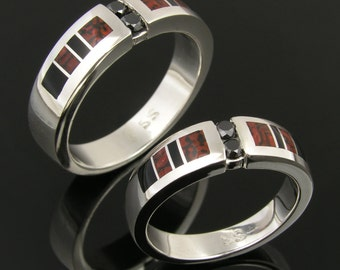 His and Hers Dinosaur Bone Wedding Ring Set with Black Diamonds and Onyx