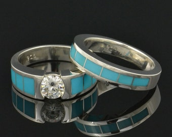 Turquoise Engagement Ring and Turquoise Wedding Band  Turquoise Bridal Set with Moissanite in Sterling Silver