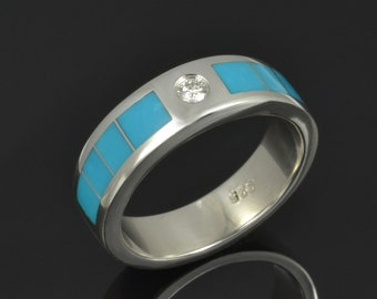 Diamond and Turquoise Wedding Band for Men in Sterling Silver by Hileman Silver Jewelry- Man's Turquoise Wedding Ring