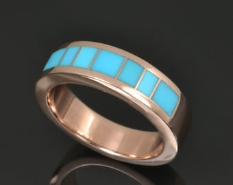 Turquoise Wedding Band in Rose Gold by Hileman Silver Jewelry - Rose Gold Turquoise Ring