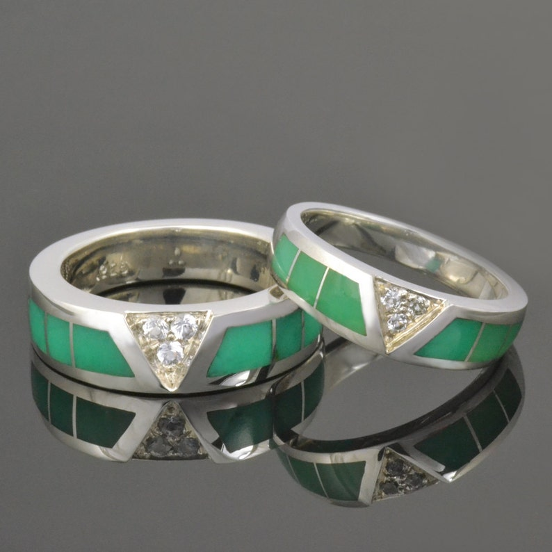 His and Hers Chrysoprase Wedding Ring Set With White Sapphires image 0