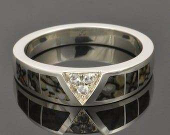 Dinosaur Bone Ring Inlaid with Gray Bone and White Sapphire Accents in Sterling Silver by Hileman Silver Jewelry