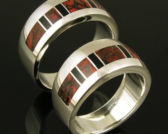 Dinosaur Bone Wedding Ring Set with Black Onyx Accents by Hileman Silver Jewelry- Dinosaur Bone Wedding Bands, Bone Rings