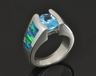 Lab Opal Ring with Blue Topaz in Sterling Silver - Lab Opal Engagement Ring with Topaz - Opal and Topaz Ring