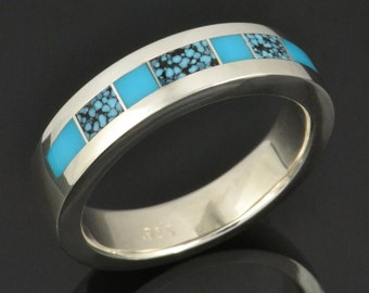 Spiderweb Turquoise and Turquoise Wedding Ring in Sterling Silver by Hileman