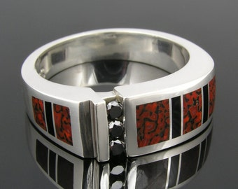 Dinosaur Bone Ring with Black Diamonds and Black Onyx in Sterling Silver by Hileman Silver Jewelry