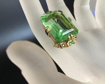 Vintage Peridot Green Hollycraft Pendant