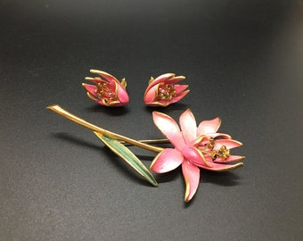 Vintage Parklane Pink Lily Brooch and Earrings