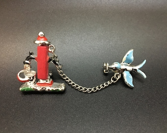Vintage Double Brooch Blue Bird and Water Pump