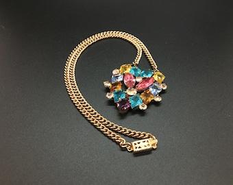 Vintage Rhinestone Heart Necklace Karu
