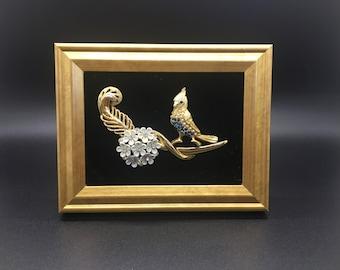 Framed Vintage Jeweled Blue Jay
