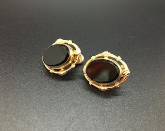 Vintage 12K Gold Filled CM Polished Black Stone Earrings
