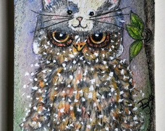 Illustration of whimsical cute owl wearing furry children's cat hat, collectible artist trading card, fun art