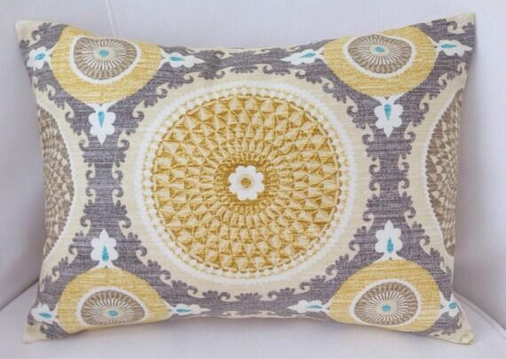 Medallion Pillow Cover Grey Yellow Pillow Decorative Throw Etsy Custom Medallion Pillow Covers