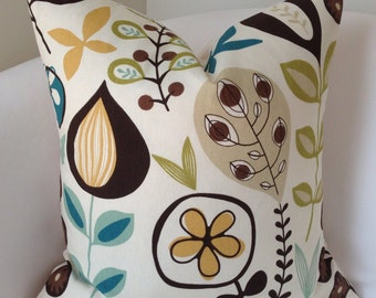 Decorative Throw Pillow Cover Brown Teal Cushion Accent