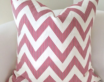 Red Pillow Cover Decorative Pillow Chevron Throw Pillow Accent Cushion