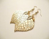 Gold Earrings, Leaf Earrings, Gold Leaf Earrings