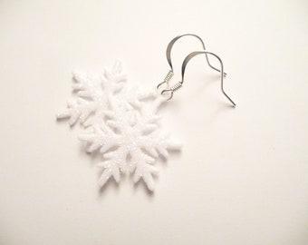 Snowflake Earrings, White, Glitter, Christmas, Holiday