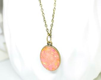 Copper necklace, Orange Necklace, Oval necklace, Pendant