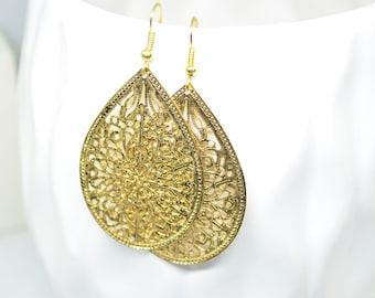 Gold Earrings, Teardrop Earrings, Pendant Earrings, Charm Earrings, Filigree Earrings