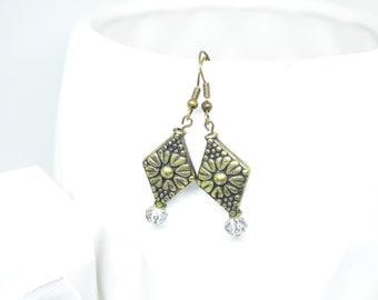 Copper plated Earrings, Dangle Earrings, Crystal Earring, Floral  Earrings